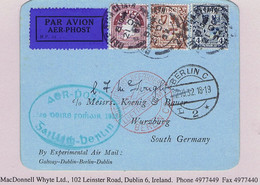 Ireland Airmail 1932 Galway-Berlin First Flight O'Loughlin Cachet Card Green 22 October Flight Handstamp - Airmail