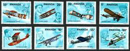 Rwanda 1978 Motorized Flight Wright Flyer I, Blériot XI, Santos-Dumont 14bis, Voisin Farman 1bis, Savoia S-17, Ryan NYP - Aerei