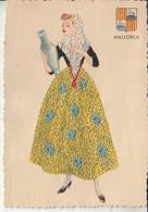 FANTAISIE Carte Brodée ( Espana Espagne Baléares ) MALLORCA Majorque - Format CPA Dentelée - Traditions Folklore - Borduurwerk