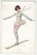 Illustrateur  Signé // Femme Avec Des Skis - Andere Illustrators