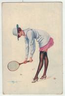 Illustrateur  Signé // Femme Jouant Au Tennis - Andere Illustrators
