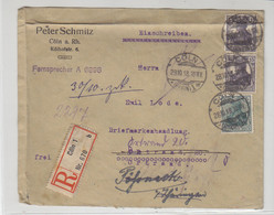 R-Brief Aus CÖLN 1 29.10.18 An Briefmarkenhandlung In Ortrand / Bedarf - Storia Postale