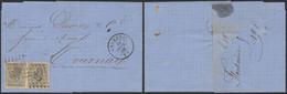 émission 1865 - N°17 En Paire Sur LAC Obl Pt 155 çàd Grammont (1866) > Tournay / Collection Spécialisée - 1865-1866 Profile Left