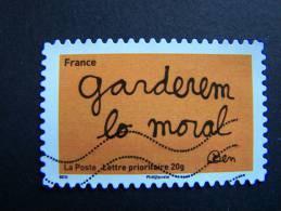 N°619 OBLITERE FRANCE 2011 SERIE DU CARNETTIMBRES LES MOTS DE BEN BENJAMIN VAUTIER:GARDEREM LO MORAL AUTOCOLLANT ADHESIF - Usati