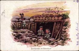 CPA Fernsprecher Im Unterstand, Kinder Als Soldaten Im Schützengraben - Non Classificati