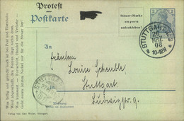"""1908, """"Protest""""- Postkarte Zum Abschied Von Der 2 Pfg. Marke, Gelaufen In STUTTGART Mit Ankuftsstempel. - Stamped Stationery"""