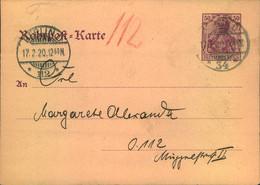 """1920, Rohrpost Ganzachenkarte 60 Pfg. Germania Ohne Zusatzfrankatur Von """"BERLIN O 34 Nach 112. - Stamped Stationery"""