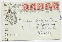 MARIANNE ALGER ALGERIE 50C X5 LETTRE COVER MEC ALGER RP 31 MAI 1944 POUR SUISSE CENSURE TA 316 - Storia Postale