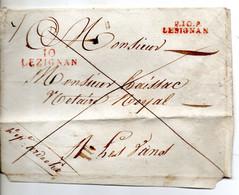 J294  Lezignan Aude  Cachet P10P Lesignan Rouge Et 10 Lezignan Rouge Sur Enveloppe Artisanale Non Datée - 1801-1848: Precursors XIX