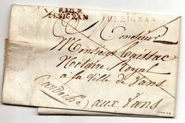 J295  1844  Lezignan Aude  Cachet P10P Lesignan  Et 10 Lezignan Rouge Sur LAC - 1801-1848: Precursors XIX