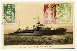 RC 19990 INDOCHINE 1944 AMIRAL CHARNER SUR CARTE MAXIMUM DE L'AVISO. PAS COURANT - Cartas