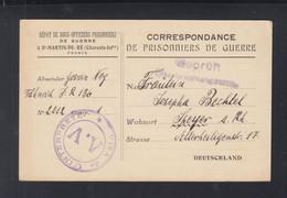 Frankreich France Correspondance De Prisonniers De Guerre St. Martin-de-Re 1918(2) - Guerra De 1914-18