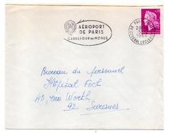 """1968-Lettre De PARIS 14  Pour SURESNES-92 -type Marianne Cheffer-cachet"""" Aéroport De Paris-Carrefour Du Monde""""..à Saisir - 1961-...."""