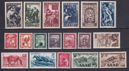 SAAR - ANNEE COMPLETE 1949 - YVERT N°250/267 ** MNH - COTE = 292 EUR. - Collections, Lots & Series