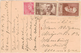 SURTAXES ANATOLE FRANCE + RADIO AUX AVEUGLES 5C MERCURE TARIF 1,25 ETRANGER CARTE +5 MOTS 5/4/39  ARTISTIQUES PARISIENS - 1921-1960: Modern Period