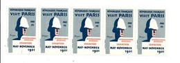 KB910 - BANDE 5 VIGNETTES INTERNATIONAL OVERSEAS EXHIBITION PARIS 1931 - EXPOSITION COLONIALE - Blokken & Postzegelboekjes