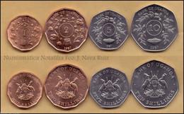 Uganda Set 4 Monedas 1 2 5 10 Shillings 1987 Km 27 28 29 30 SC UNC - Uganda