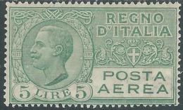 1926-28 REGNO POSTA AEREA EFFIGIE 5 LIRE MH * - RB5-10 - Luchtpost