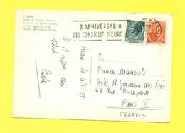 PER ESTERO-TARGHETTE-STORIA POSTALE-ANNULLI A TARGHETTA-   SU CARTOLINA-SIRACUSANA--MARCOFILIA-ROMA- - 1946-60: Poststempel