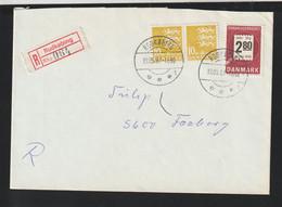 Denmark Registered Cover Posted Rudkøbing 1987 (G124-32) - Cartas