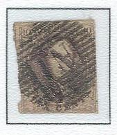 COB  10  Médaillon Allongé - Bureaux Ambulants - 17 Barres Horiz. - N.1 Bruxelles-Anvers - 1858-1862 Medaglioni (9/12)