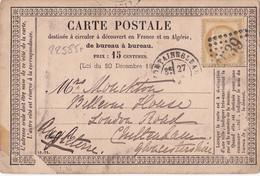 22585# SEINE ET MARNE CARTE PRECURSEUR Obl GC 1539 FONTAINEBLEAU 1876 T17 CHELTENHAM ANGLETERRE MANQUE 1 TIMBRE - Precursor Cards