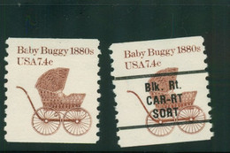 USA Scott # 1902 & 1902a 1984  American Transportation - 7.4¢Baby Buggy Coil    Mint Never Hinged  (MNH) - Nuevos