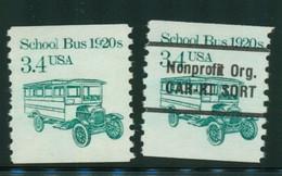 USA Scott # 2123 & 2123a 1985  American Transportation - 3.4¢School Bus Coil   Mint Never Hinged  (MNH) - Nuevos