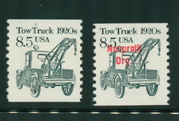 USA Scott # 2129  & 2129a  1987  American Transportation Coil - 8.5¢Tow Truck  Mint Never Hinged  (MNH) - Nuevos