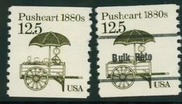 USA Scott # 2133 & 2133a  1985  American Transportation Coil - 12.5¢Pushcart  Mint Never Hinged  (MNH) - Nuevos