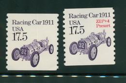 USA Scott # 2262 & 2162a 1987  American Transportation Coil -17.5¢Racing Car  Mint Never Hinged  (MNH) - Nuevos