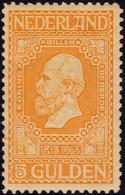 ✔️ Nederlands Netherlands 1913 - Willem I - 5 Gulden - NVPH 100 * MH - €300 - Nuovi