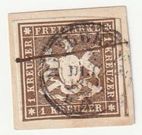 Württemberg 1859 Michel Nr. 11, 1 Kr. Braun, Gestempelt Auf Briefstück, Michel 120,-€ - Wuerttemberg