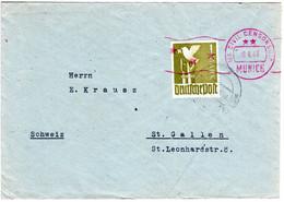 1947, EF 1 Mk. Friedenstaube Auf Brief V. Westerham Bei München I.d. Schweiz - Zona AAS