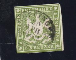Württemberg 1859 Michel Nr. 13, 6 Kr. Grün, Gestempeltes Prachtstück, Michel 140,-€ - Wuerttemberg