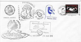 17917  - FREGATE PRAIRIAL - CLIPPERTON 2015  MISSION PASSION  (Cachet OISEAU) - Scheepspost