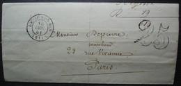 Boulogne Sur Mer (Pas De Calais) 1851 Lettre Taxée 25 De Me Sergent, Afflux D'étrangers Et Affaires - 1849-1876: Klassik