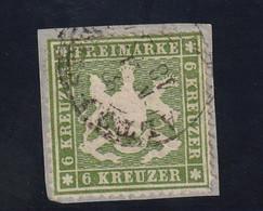Württemberg 1860 Michel Nr. 18 Y, 6 Kr. Grün, Gestempelt, Michel 140,-€ - Wuerttemberg