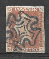 Grande-Bretagne (GB) Victoria 1841 - Penny Rouge Planche 10 GL (black Plates) - Gebraucht