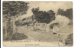 """03-SAINT-HILAIRE-Carte Fantaisie """"Nous Sommes Arrivés à...""""  Train...1909 - Sonstige Gemeinden"""