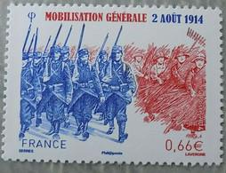 Timbre Neuf France MNH 2014 : Mobilisation Générale Du 2 Août 1914 - Ongebruikt