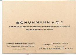 TI / Carte De Visite Ancienne SCHUHMANN &Cie BANQUE Banquier BOURSE - Visiting Cards