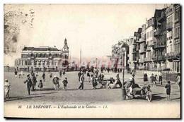 CPA Le Treport L'Esplanade Et Le Casino  Side-car Moto - Le Treport