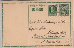 Bayern - 5 Pfg. Hupp Ganzsache + Zusatz N. USA Langquaid - Belmont 1915 - Sin Clasificación