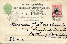 PRECURSEUR - BRESIL / BRAZIL - Carte Postale Avec Réponse Payée - Entier Postal 100 C Rouge - 1899 - Cachet PONTIVY - Briefe U. Dokumente
