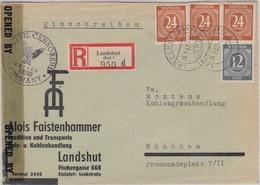 All.Bes./Kontrollrat - Landshut 1947 Illustr. Einschreibebrief N. München Zensur - Sin Clasificación