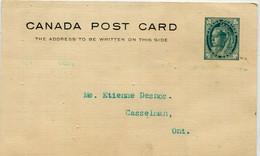 "PRECURSEUR - CANADA - Entier Postal 1 Cent Reine Victoria Bleu- 1900 - Cachet "" CASSELMAN "" Et "" LUKE BROTHERS COMPANY "" - Briefe U. Dokumente"