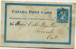 """PRECURSEUR - CANADA - Entier Postal 1 Cent Reine Victoria Bleu- 1879 - Cachet """" TORONTO """" - Briefe U. Dokumente"""