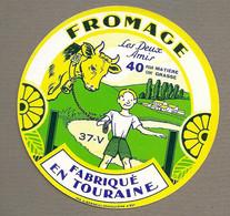 ETIQUETTE De FROMAGE.. CAMEMBERT Fabriqué En TOURAINE (37-V).. Les Deux Amis - Formaggio