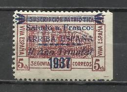 1735A-SELLO SOBRETASA LOCAL GUERRA CIVIL SEGOVIA CON SOBRECARGA VIVAS A FRANCO,PATRIOTICO.NUEVO - Nationalistische Uitgaves